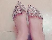 2014 korean  lady  fashion flat and high heel pointed toe with metal shining diamond shoe women wedding shoe    free shipping