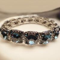 Lo yin Vintage fashion personality single gem inlaying bracelet elastic bracelet