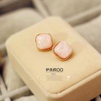 Lo yin Elegant pink gem big square stud earring stud earring big stud earring fashion Pink