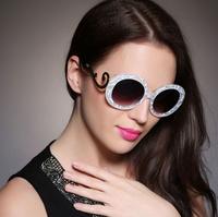 2014 round lenses retro pattern mental frame super star brand famous sunglasses for women eye sunglasses