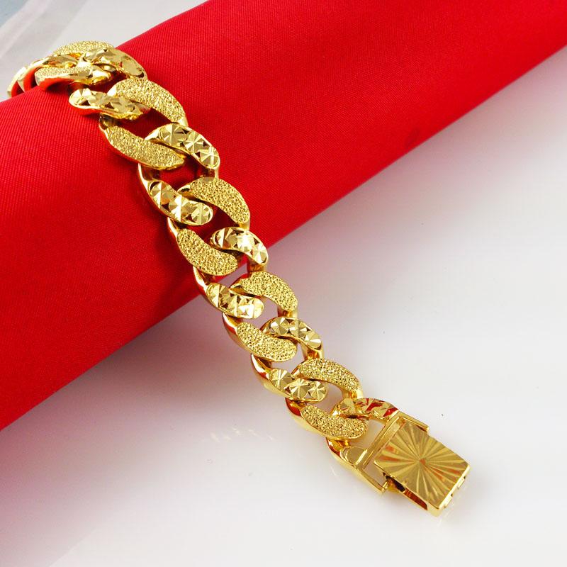 Wholesale fashion bracelets bangles 24K Gold Plated bracelet men women bracelet Gold Bracelet men jewelry Free Shipping Yc039(China (Mainland))
