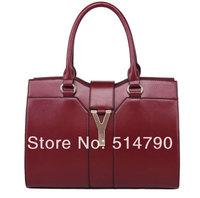 High Quality Y brand Designer Women/Girls' Real  Genuine Leather Handbags Tote Bag Purse &Cross Body shoulder bag With Gold Logo
