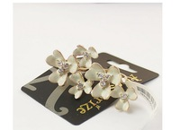 European style fashion personality quality transparent walls inlaid white beads jewelry wholesale lovely flower ring B93