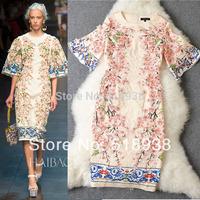 2014 new spring women flare sleeves appliques flowers patterns printed runway jacquard dress luxury brand sheath vintage dresses