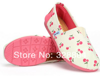 New 2014 Causal Preppy Style Low Shoes Lazy Low To Help Breathable Rubber Flats Lovely Cherry Pattern Canvas Pedal Flat Driving