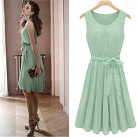 2014 Summer women's fashion formal sleeveless lace vest slim solid color pleated chiffon knee length dress green color M-XL size