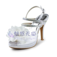 MZ429 wholesale free shipping 2014 high-heeled sandals satin open toe platform white flower plus size women dress shoes sandals