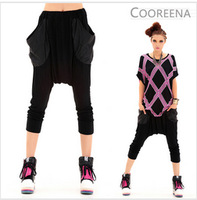 Cool hip hop girl dress harem pants solid color large pocket