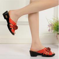 2014 summer genuine leather slippers wedges platform comfortable female sandals Flip Flops