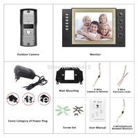 8 inch TFT Monitor LCD Color Video Record Door Phone DoorBell Intercom System with mini IR Camera