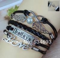 Retro Alloy Knitted Black Leather Rope Believe LOVE Infinity Wings Bracelet Fashion Men Jewelry