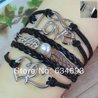 6PCS/LOT!Antique Silver Black Leather Heart Wing Bead LOVE Infinity Bracelet Unique Women Costume Jewelry