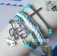 Handmade Braided Leather Antique Silver LOVE Lucky Leaf Birds Bracelet Fashion Women Costume Cross Infinity Jewelry