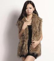 Wave stripe sleeveless turn-down collar fur vest haoduoyi