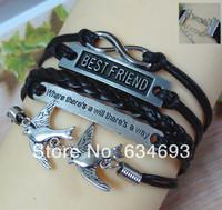 Knitted Leather Suede Thread Cuff Birds to Birds Bracelet Trendy Women's Men Metal Alloy Best Friend Infinity Jewelry