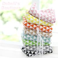 8 Assorted Geometric Triangle Print Cotton Linen Quilt Fabric Fat Quarter Tissue Bundle, Charm Sewing Handmade Textile 70x50cm