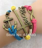 Retro Alloy Alloy Infinity Love Cross Charms Bracelet Vintage Fashion Mens Women Anchor Costume Handmade Jewelry