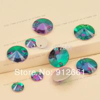 Free shipping 112pcs per lot Sew On Crystal Round Rivoli Rhinestone Beads Buttons Emerald in 12mm