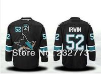 Free Shipping New San Jose Sharks #52 Matt Irwin Blue black Ice Hockey Jersey Embroidery logos Cheap Hockey jerseys