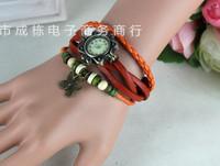 10pcs/lot 7 colors Quartz Wristwatches Women Luxury  Vintage Leather with butterfly Pendant Dress Watches Bracelet Watch