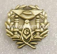 Brass antique gold plated masonic lapel pin,  crafts,souvenir