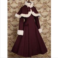 New women's gown LOLITA dress cosplay cotume warm wool cape coat Nigeria