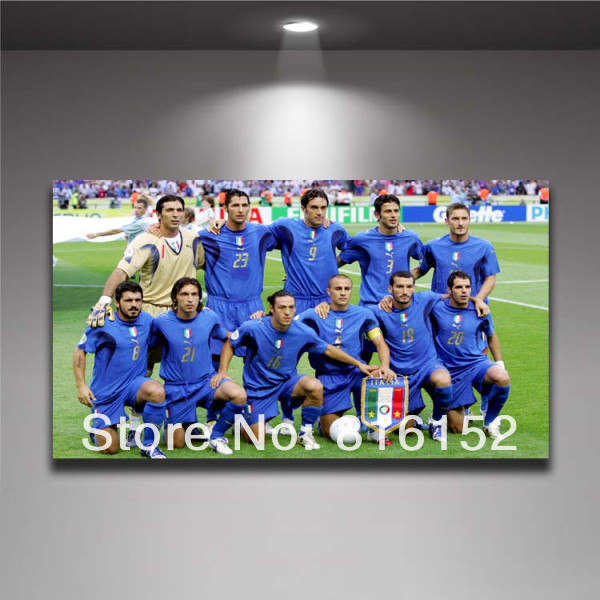 World Cup 2014 Brazil Waterproof Canvas Painting Wall Picture Print Soccer Football Star Team Bar Italy Custom(China (Mainland))