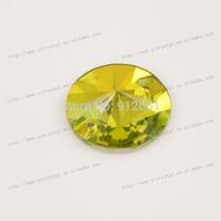 Free shipping 54pcs 18mm w3200 Light Topaz round rivoli sew on rhinestone crystal shiny Flat back diamond