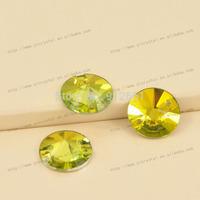 Free shipping 72pcs 16mm w3200 Light Topaz round rivoli sew on rhinestone crystal shiny Flat back diamond