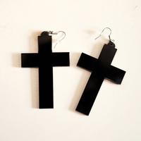 Mercy original design accessories fashion street style black cross earrings