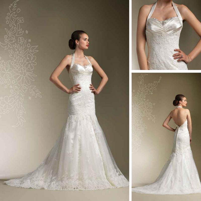 Halter top beach designer bridal lace vintage backless for Backless wedding dresses designer