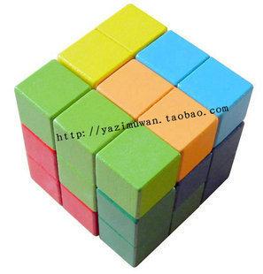 Square wooden soma multicolour assembling building blocks toy cube magic cube iq(China (Mainland))