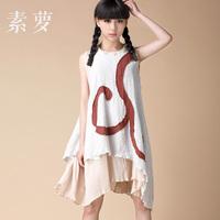 FREE SHIPPING Original Design Trend Women's National 2014 Summer Fluid One-piece Dress