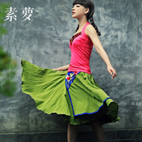 FREE SHIPPING Clothing original design trend women's national 2014 summer fluid embroidery short half-length skirt