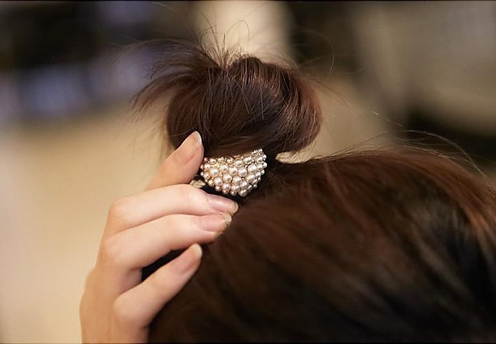 Drop shipping China Post! 12pcs/lot DIY Retail Pearl Loving Heart Hair Band Golden/Sliver Peach Hearts Hair Ring Hair Accessory(China (Mainland))