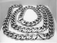 "Super Heavy Shinny Cuban Solid Stainless Steel Men 9"" Bracelet 24"" Necklace Set"