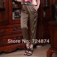 Pure Silk 2014 summer plus size silk pants silk women's fashion loose mulberry silk casual pants female Freeshipping