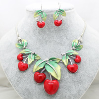 hot sale European big cherry fashion red jewelry sets brand high quality wedding necklace and drop earrings sets for women gifts