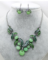 Free shipping Fruit green apple Party jewelry sets brand top quality wedding cute trendy necklaces earrings sets for women gifts