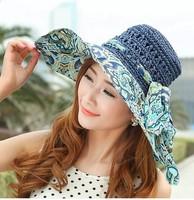 2014 Bohemian Wholesale Retail Fashion Women Wide Large Brim Floppy Summer Beach a Sun hat Straw Hat Cap with big bow summer hat