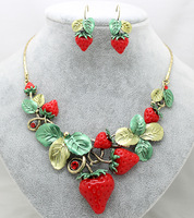 Free shipping Fruit strawberry fashion unique design jewelry sets elegant party trendy girls necklaces earrings sets for women