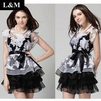 2014 New Star of the same paragraph Organza Piece M - XXL code Women summer dress Flower print summer dress fashionfree shipping