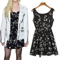 2014 spring winny sleeveless one-piece dress the notes print suspender  tank dress pleated