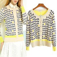 2014 spring Women winny o-neck sweater color block print decoration sweater female cardigan outerwear