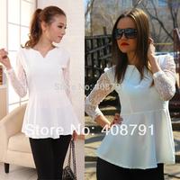 Female Chiffon Shirt 2014 Spring Autumn Plus Size Women 5XL All-match Lace White Slim Top Blouses & Shirts Big Size 2XL 3XL 4XL