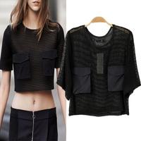 Fashion 2014 summer winny women's short design pocket lace shirt shirt