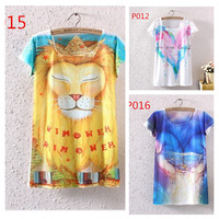 Free Shipping hot 2015 Newest Style 3D Printed Tee Women's T-shirt Round Collar Summer Big Size women T Shirt DS.0020