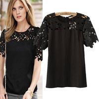 Fashion 2014 summer winny women's patchwork cutout lace short-sleeve T-shirt
