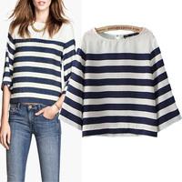 Fashion summer 2014 winny women's navy style stripe elastic short design shirt chiffon shirt
