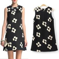 2014 spring winny sleeveless one-piece dress fashion street flower print chiffon tank dress one-piece dress summer